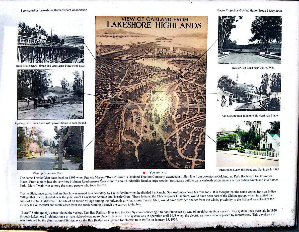 A sign about Trestle Glen sponsored by the Lakeshore Homeowners Association. - from Oaklandwiki.org